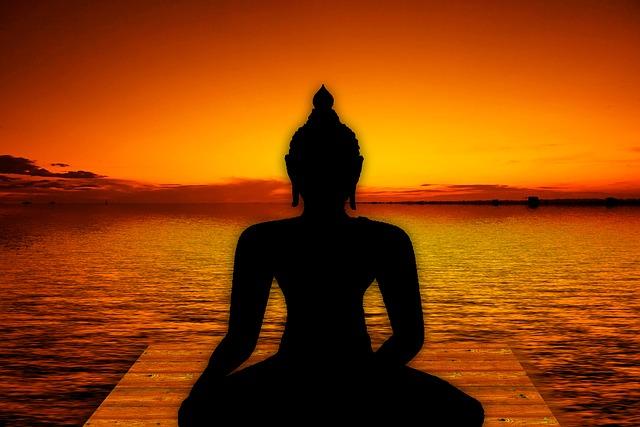 buddha, moře, západ slunce