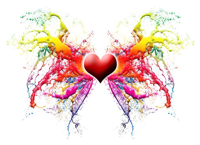 barevná skvrna znázorňující propojení ve středu se srdcem